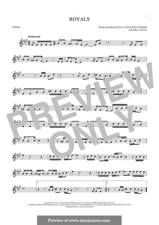 Royals (Lorde): For violin by Ella Yelich-O'Connor, Joel Little
