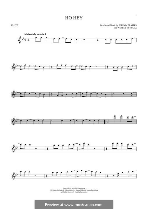 Ho Hey (The Lumineers): For flute by Jeremy Fraites, Wesley Schultz