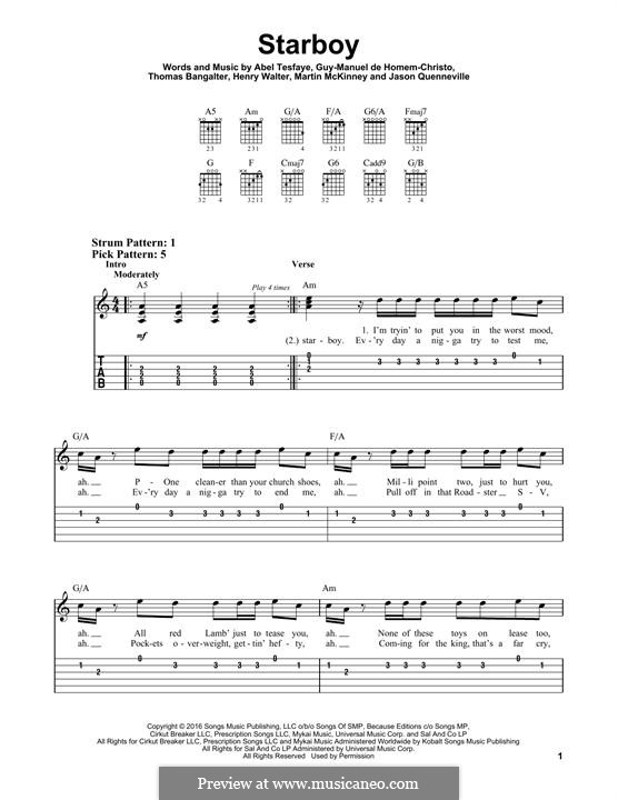 Starboy (The Weeknd feat. Daft Punk): For guitar with tab by Thomas Bangalter, Henry Russell Walter, Abel Tesfaye, Guillaume de Homem-Christo, Martin McKinney