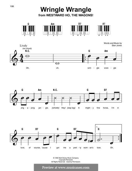 Wringle Wrangle (A Pretty Woman's Love): Melody line by Stan Jones