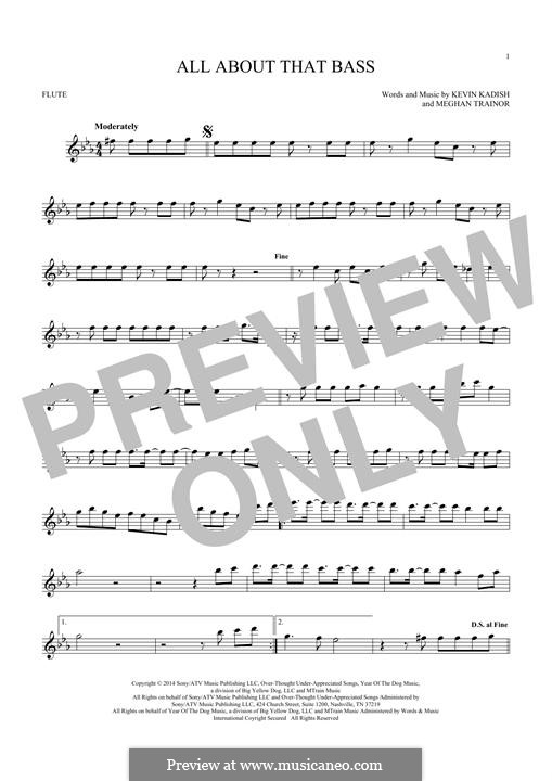 All About That Bass: For flute by Kevin Kadish, Meghan Trainor