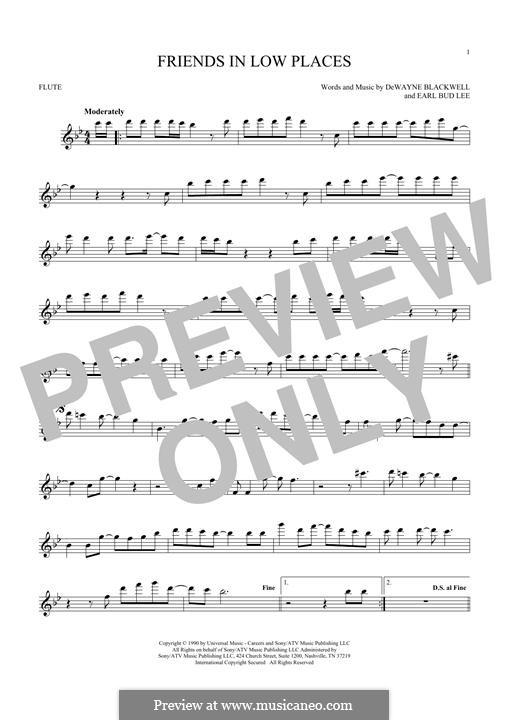 Friends in Low Places (Garth Brooks): For flute by Dewayne Blackwell, Earl Bud Lee