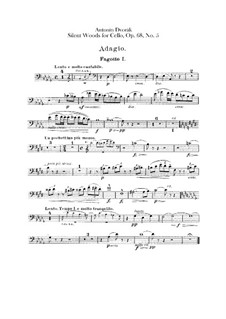 From the Bohemian Forest, B.133 Op.68: No.5 Klid (Silent Woods), for Orchestra – Bassoons Parts by Antonín Dvořák
