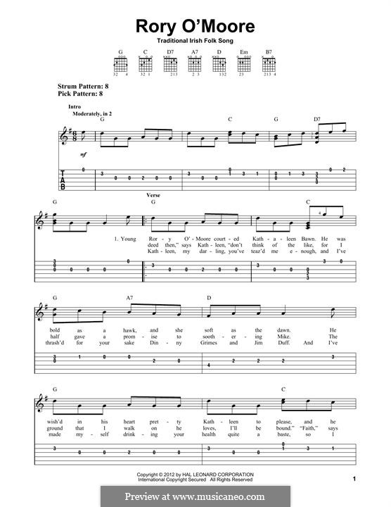 Rory O'More: For guitar with tab by folklore