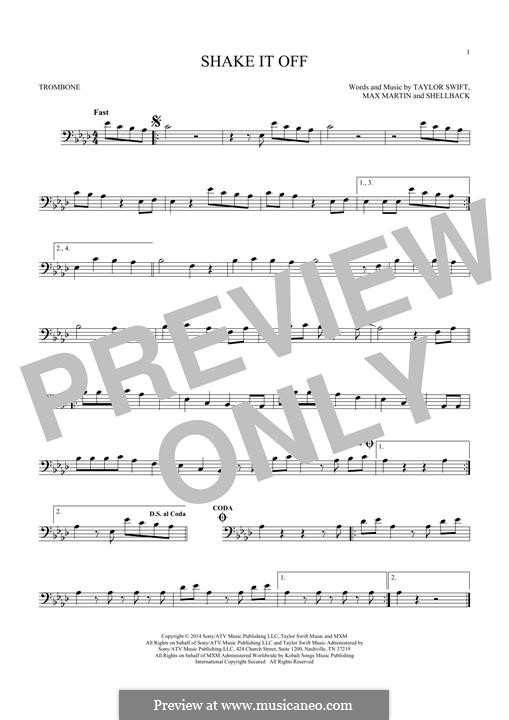 Shake it Off: For trombone by Shellback, Max Martin, Taylor Swift