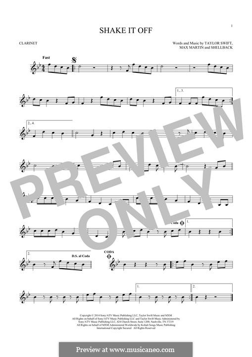 Shake it Off: For clarinet by Shellback, Max Martin, Taylor Swift