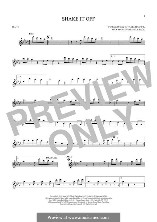 Shake it Off: For flute by Shellback, Max Martin, Taylor Swift