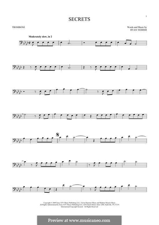 Secrets (OneRepublic): For trombone by Ryan B Tedder