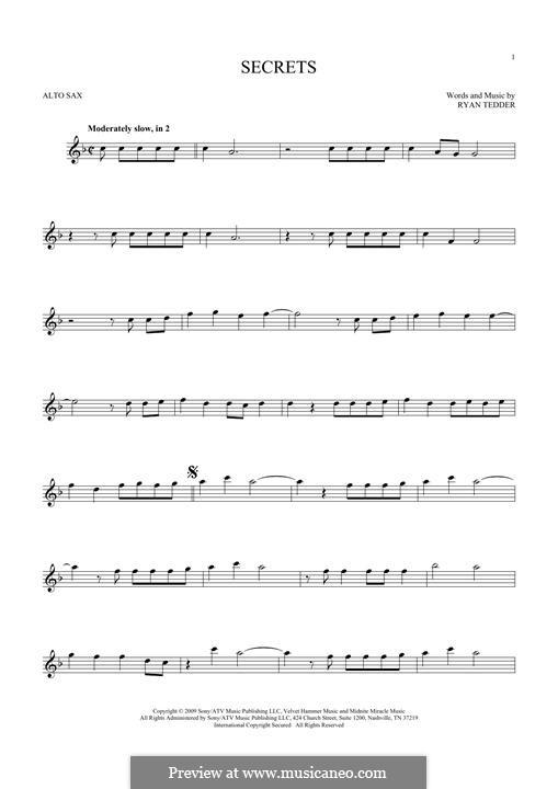 Secrets (OneRepublic): For alto saxophone by Ryan B Tedder