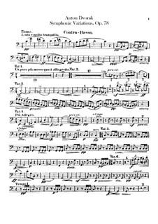 Symphonic Variations on 'Já jsem huslar', B.70 Op.78: Double bass part by Antonín Dvořák