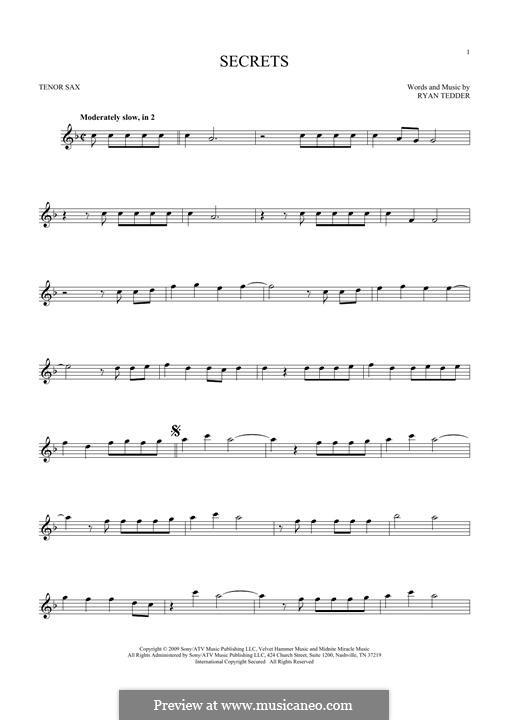 Secrets (OneRepublic): For tenor saxophone by Ryan B Tedder