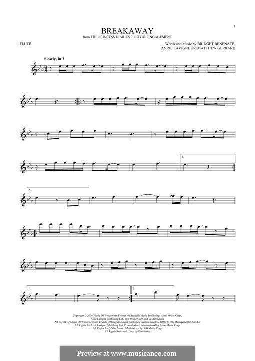 Breakaway (Kelly Clarkson): For flute by Avril Lavigne, Bridget Benenate, Matthew Gerrard