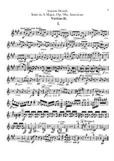 American Suite for Orchestra, B.190 Op.98b: Violin II parts by Antonín Dvořák