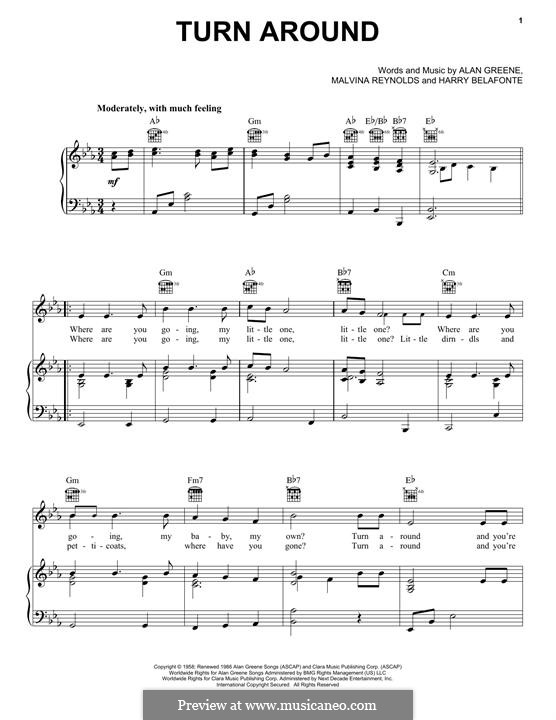 Turn Around (Dick & DeeDee): For voice and piano (or guitar) by Malvina Reynolds, Harry Belafonte, Alan Greene