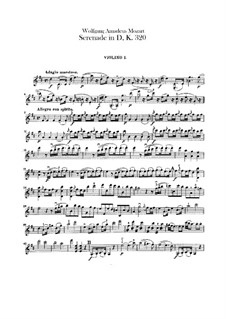 Serenade for Orchestra No.9 in D Major 'Posthorn', K.320: Violins I part by Wolfgang Amadeus Mozart