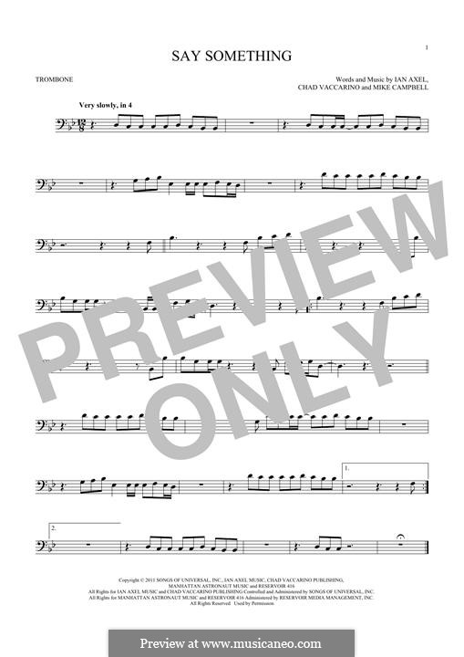 Say Something (A Great Big World): For trombone by Ian Axel, Chad Vaccarino