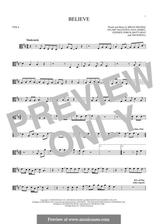 Believe Cher By B Higgins P Barry S Torch Sheet Music On