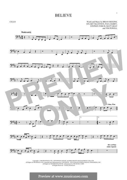 Believe (Cher): For cello by Brian Higgins, Paul Barry, Stephen Torch