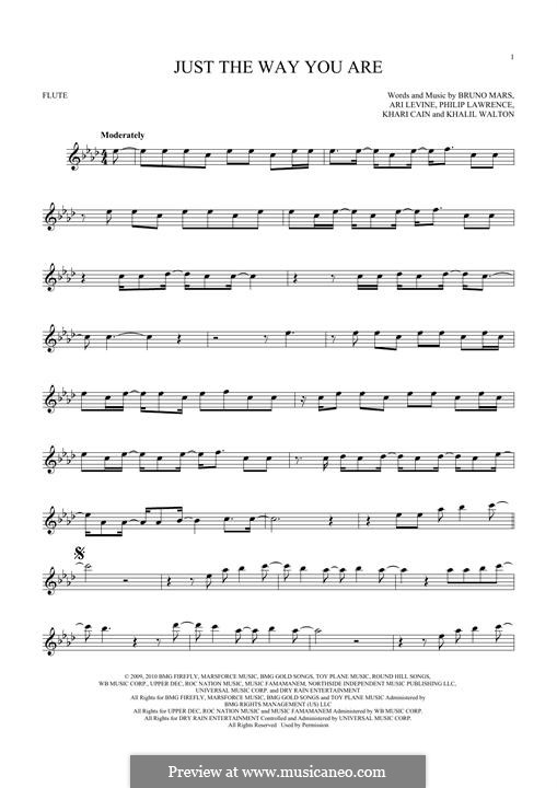 Just the Way You are: For flute by Ari Levine, Khalil Walton, Khari Cain, Bruno Mars, Philip Lawrence