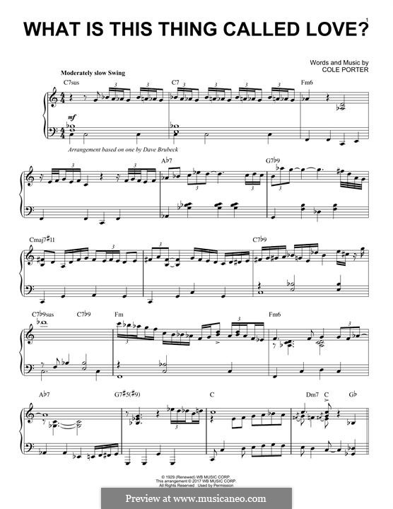 What Is This Thing Called Love?: For piano by Cole Porter