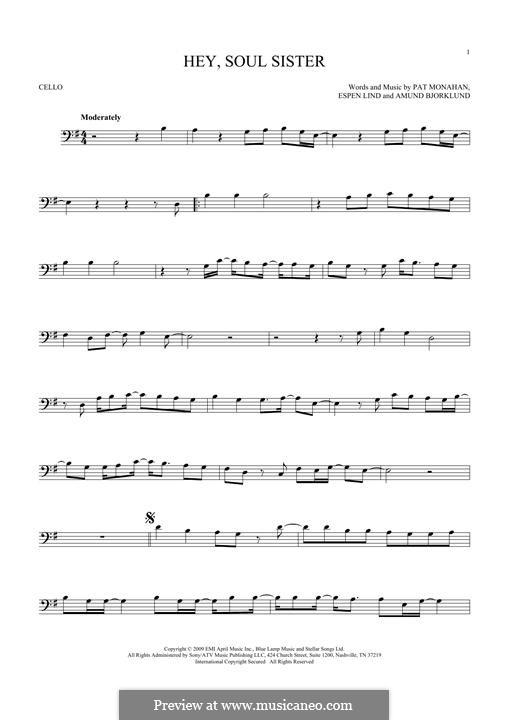Hey, Soul Sister (Train): For cello by Amund Bjorklund, Espen Lind, Patrick Monahan