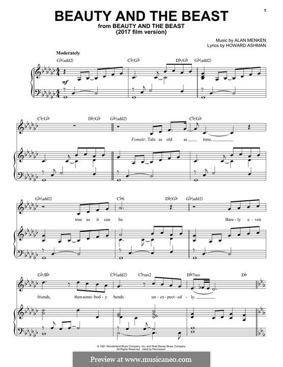 Beauty and the Beast (Celine Dion and Peabo Bryson): For voice and piano by Alan Menken