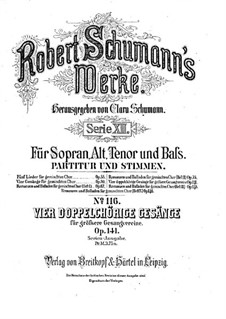 Four Song, Op.141: Complete set by Robert Schumann
