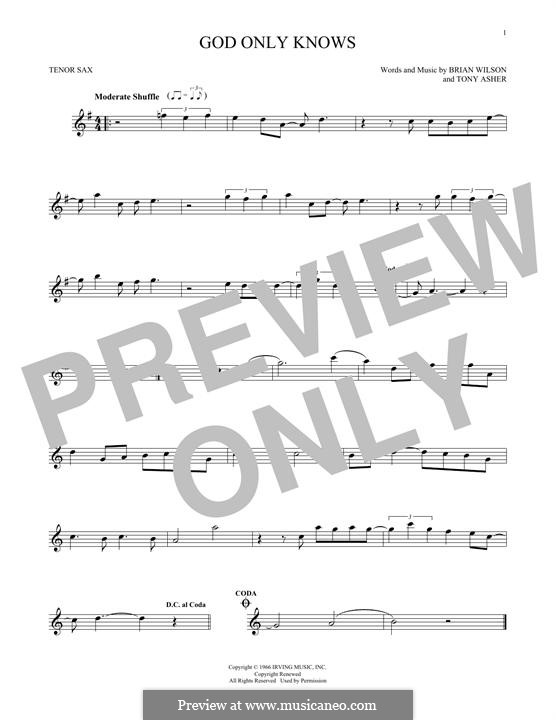 God Only Knows (The Beach Boys): For tenor saxophone by Brian Wilson, Tony Asher