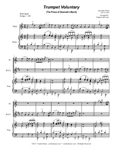 Prince of Denmark's March (Trumpet Voluntary): Duet for flute and Bb-clarinet - piano accompaniment by Jeremiah Clarke