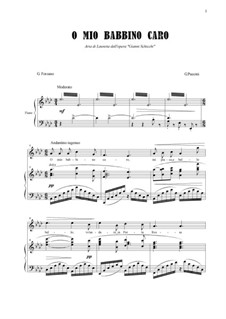 O mio babbino caro: For soprano and piano by Giacomo Puccini