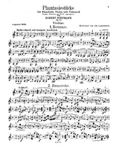 Fantastic Pieces for Piano Trio, Op.88: Violin part by Robert Schumann