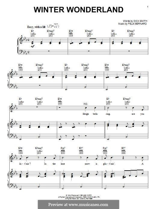 Winter Wonderland By F Bernard Sheet Music On Musicaneo