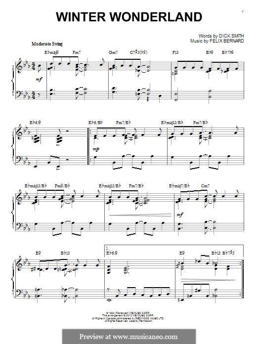 Winter Wonderland, for Piano: For a single performer by Felix Bernard