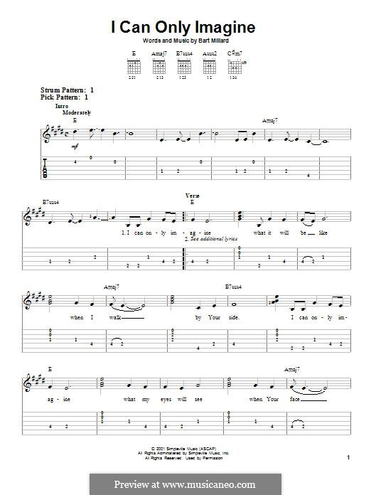 I Can Only Imagine (Mercy Me): For guitar with tab by Bart Millard