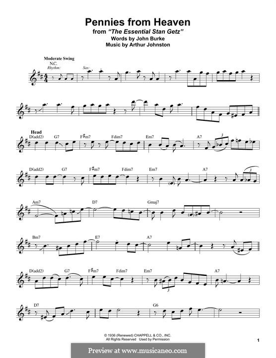 Pennies from Heaven (Bing Crosby): For tenor saxophone by Arthur Johnston