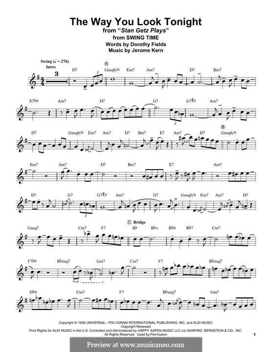 The Way You Look Tonight: For tenor saxophone by Jerome Kern