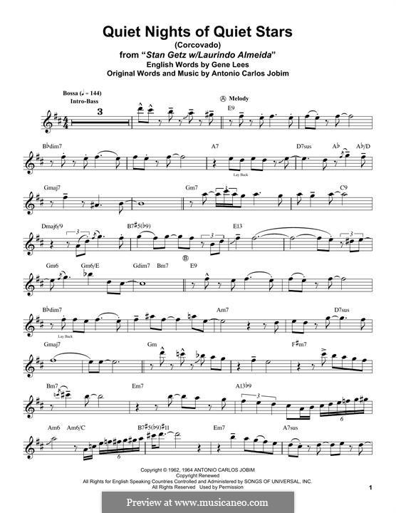 Corcovado (Quiet Nights of Quiet Stars): For tenor saxophone by Antonio Carlos Jobim