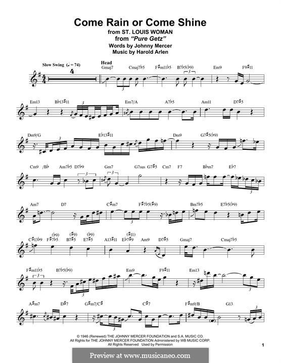 Come Rain or Come Shine: For tenor saxophone (Stan Getz) by Harold Arlen