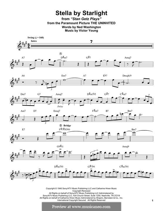Stella By Starlight: For tenor saxophone by Victor Young