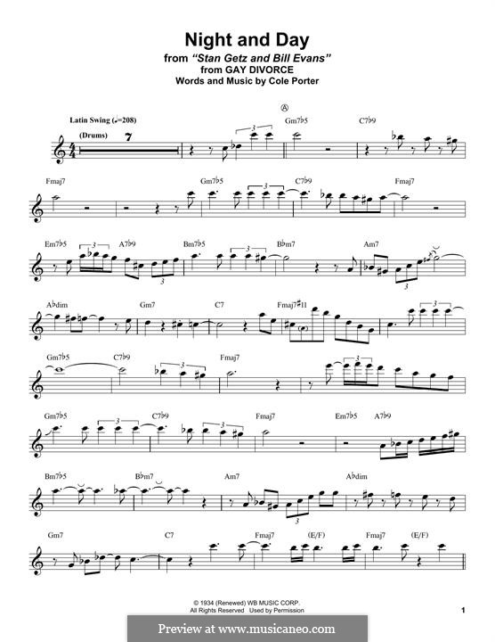 Night and Day (Frank Sinatra): For tenor saxophone by Cole Porter