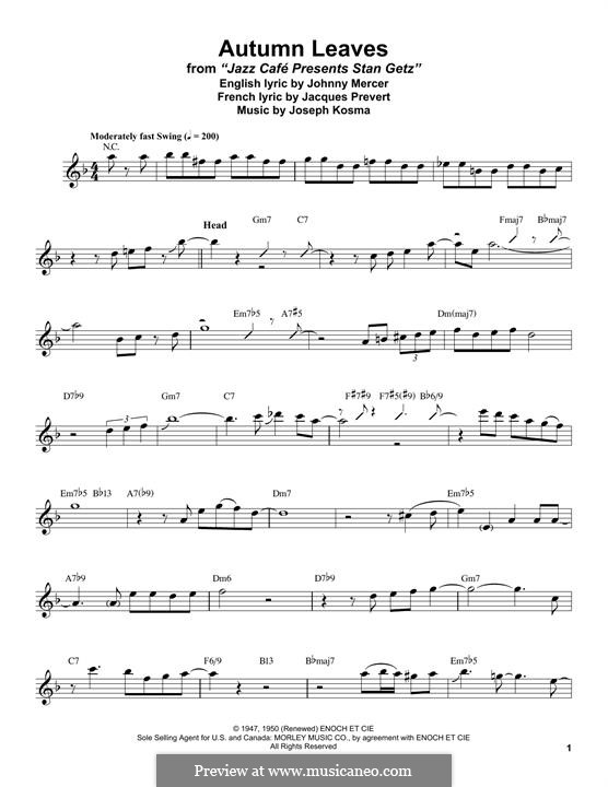 Autumn Leaves (Les Feuilles Mortes): For tenor saxophone by Joseph Kosma