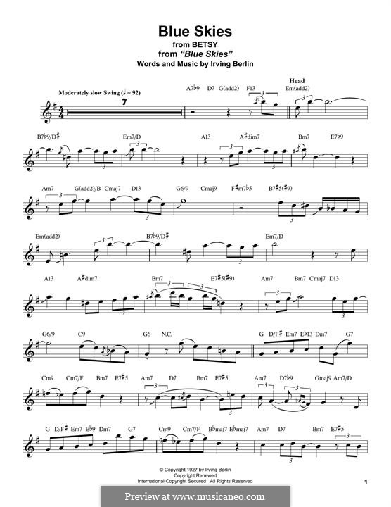 Blue Skies: For tenor saxophone by Irving Berlin
