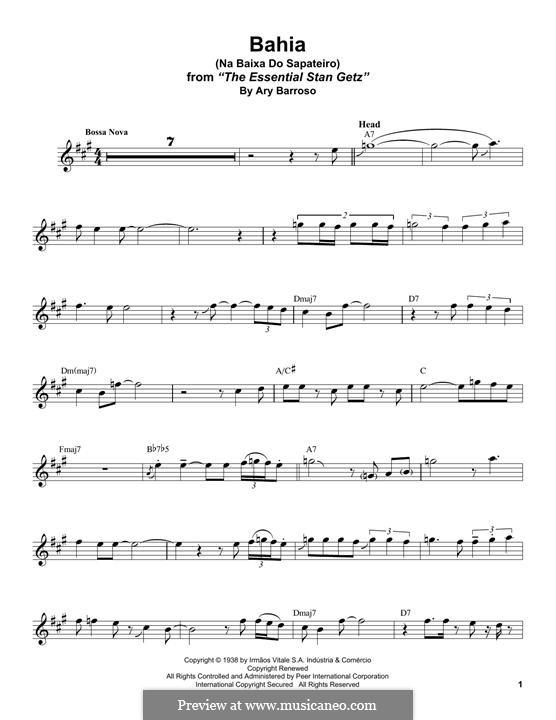 Baia: For tenor saxophone by Ary Barroso