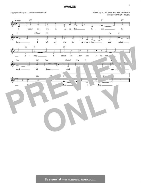 Avalon (Al Jolson): Melody line by Vincent Rose