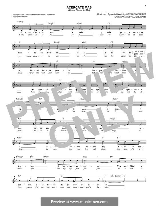 Come Closer To Me (Acercate Mas): Melody line by Osvaldo Farres