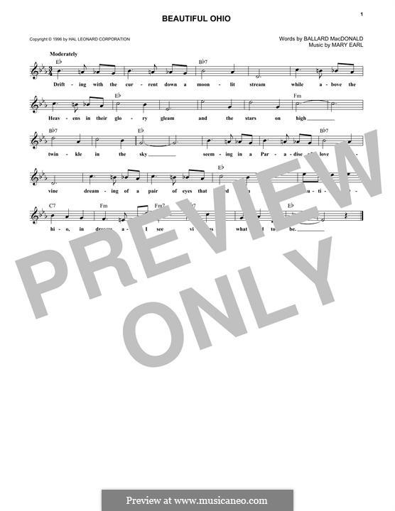 Beautiful Ohio: Melody line by Ballard MacDonald, Mary Earl