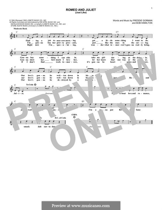 Romeo and Juliet (Just Like): Melody line (Reflections) by Bob Hamilton, Freddie Gorman