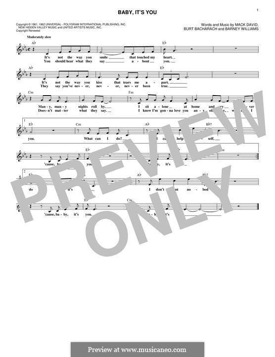 Baby, It's You: Melody line by Barney Williams, Burt Bacharach, Mack David