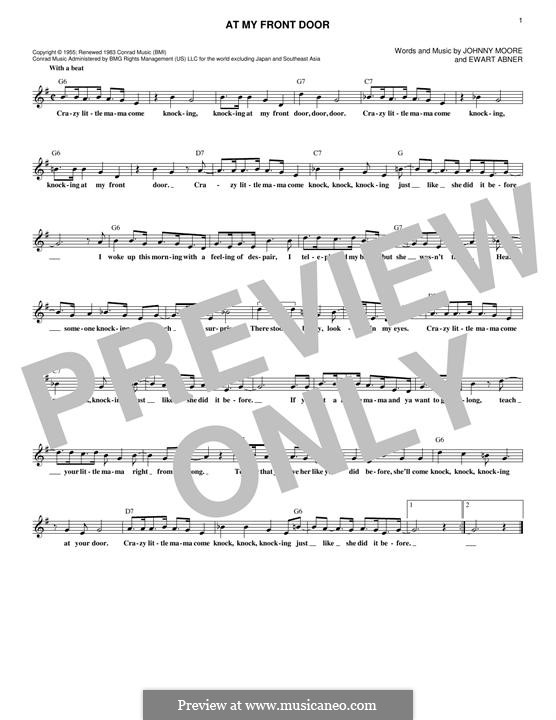 At My Front Door (Pat Boone): Melody line by Ewart G. Abner Jr., Johnny Moore