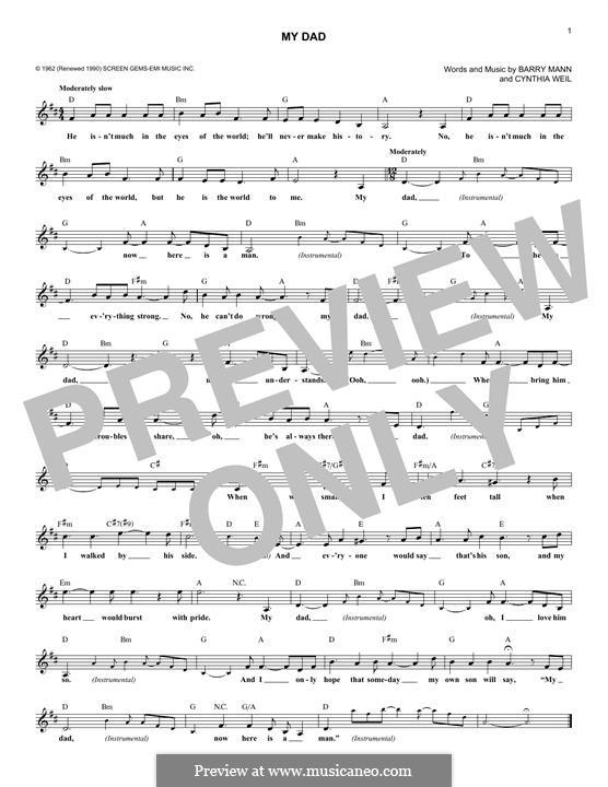 My Dad: Melody line by Barry Mann, Cynthia Weil